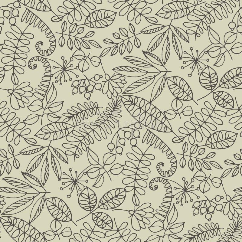 De bosbladeren overhandigen getrokken contour naadloos patroon royalty-vrije illustratie