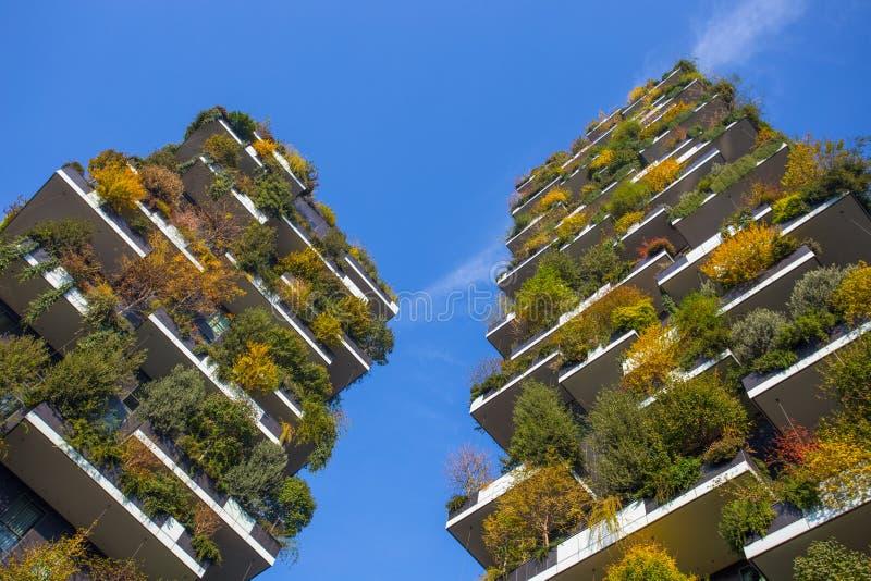 ` De Bosco Verticale del `, bosque vertical en tiempo del otoño, apartamentos y edificios en el ` de Isola del ` del área de la c foto de archivo