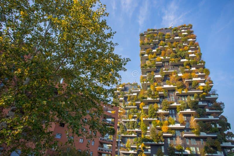 ` De Bosco Verticale del `, bosque vertical en tiempo del otoño, apartamentos y edificios en el ` de Isola del ` del área de la c fotos de archivo