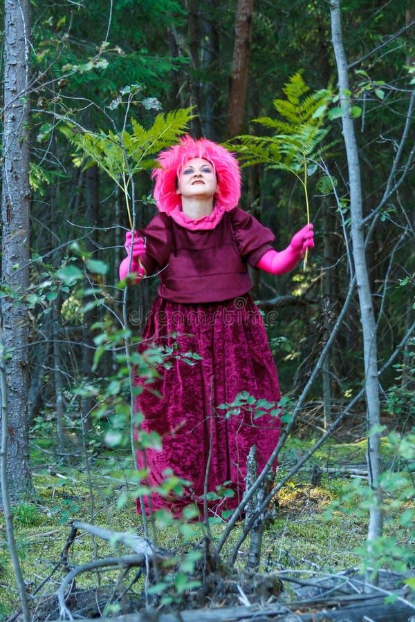 De bosheks in paarse kleren voert een magisch ritueel uit met een fern royalty-vrije stock foto