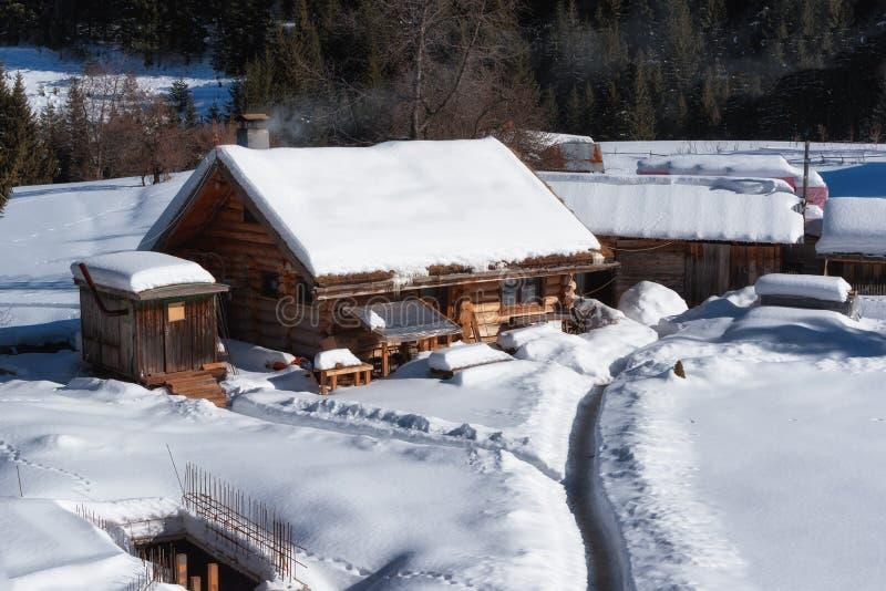 De bosscène van de winter Plattelandshuisje bij de berg in een zonnige de winterdag Sneeuwfairytale in Bulgarije stock foto