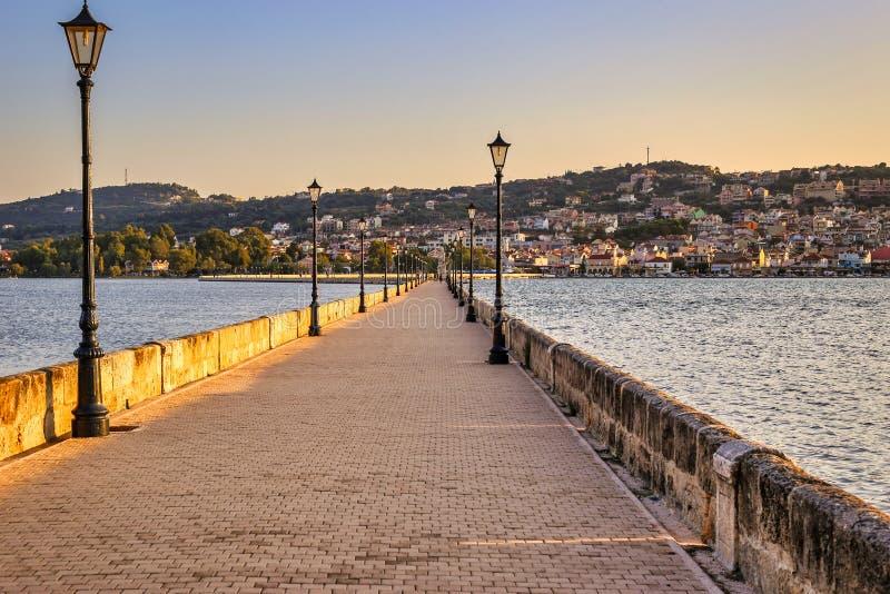 De Bosset bridge on lakeside in Argostoli, Kefalonia, Greece royalty free stock photography