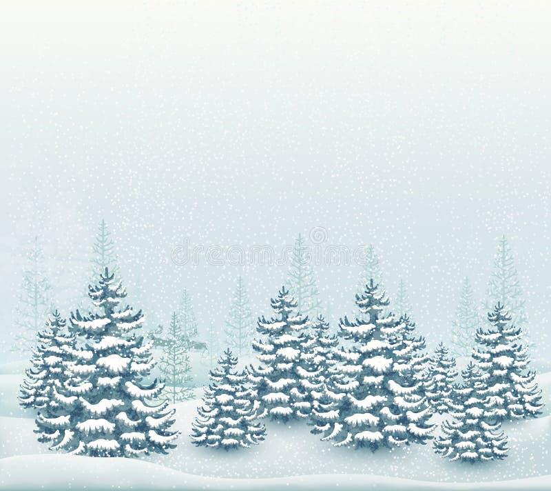 De bosvector van het de winterlandschap royalty-vrije illustratie