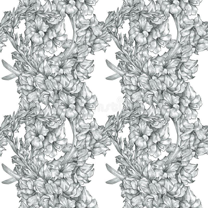 De botanische bloemen van de de tekeningsschets van het bloempotlood naadloze achtergrond van de het overladen patroon zwart-witt stock illustratie