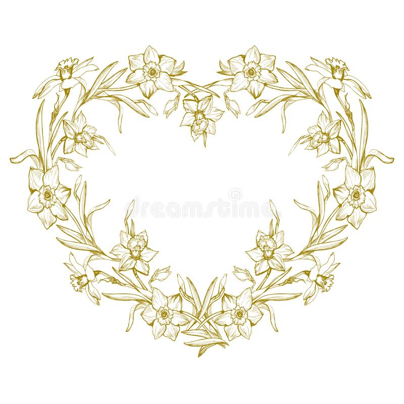De botanische overzichtskroon met getrokken hand bloeit gele narcis, narcissen royalty-vrije illustratie