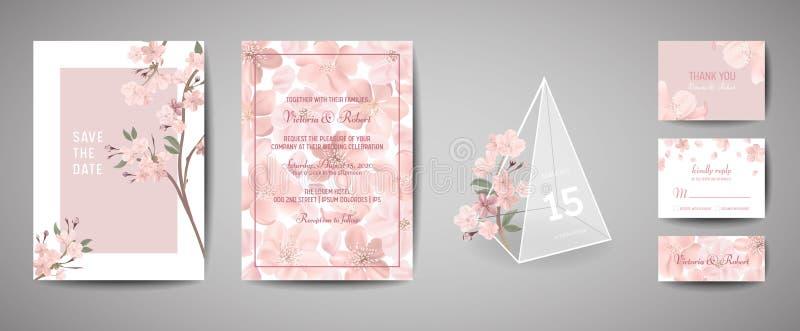 De botanische retro kaart van de huwelijksuitnodiging, wijnoogst sparen de Datum, malplaatjeontwerp van sakura bloeit en gaat, ke stock illustratie