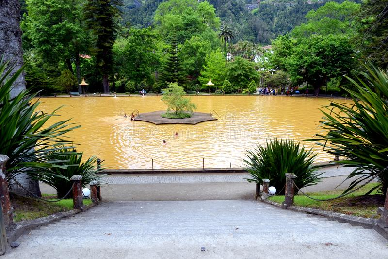 De botanische tuin van Terra Nostra in Furnas, de Azoren, Portugal royalty-vrije stock foto