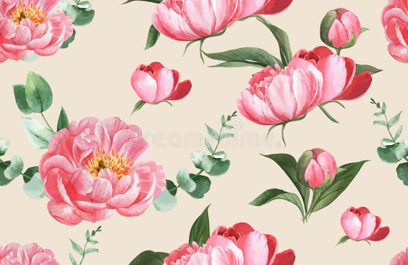 De botanische waterverf van de patroonbloem, dankkaart, het textielontwerp van de druk vectorillustratie vector illustratie