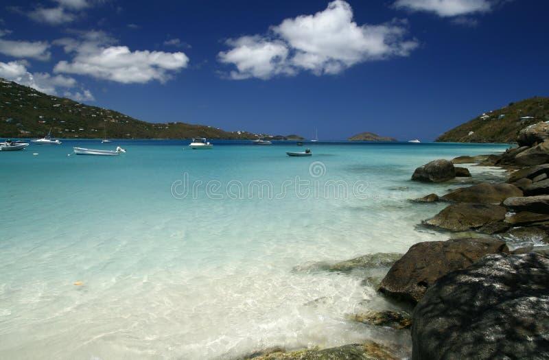 De Boten van de Baai van Magen, St. Thomas stock foto's