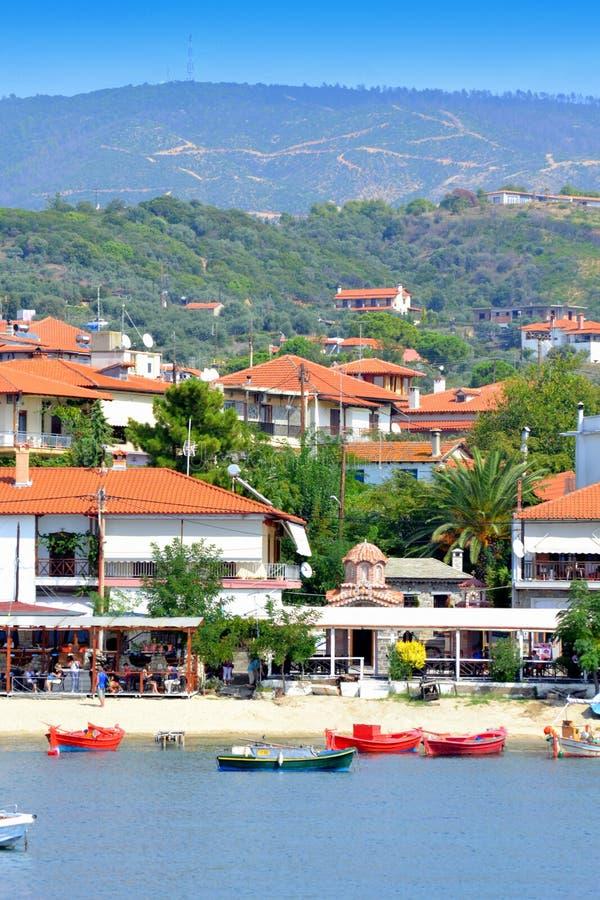 De botenstrand Griekenland van de de zomertoevlucht stock foto's