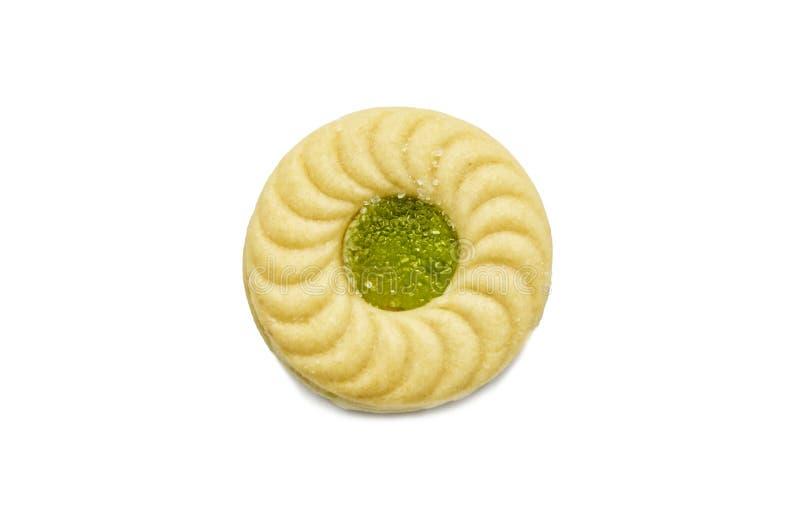 De boterkoekjes van de koekjessandwich met room en Kiwi en Apple op smaak gebrachte jam stock fotografie