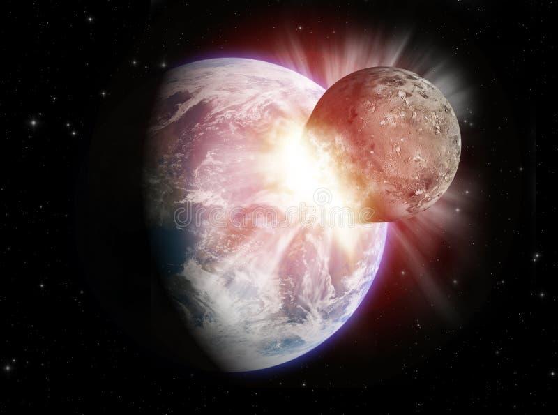 De botsing van de planeet royalty-vrije illustratie