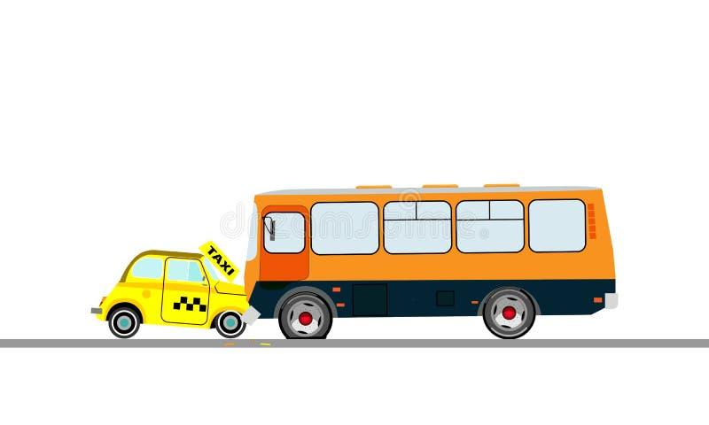 De botsing van een een taxiauto en bus Vector illustratie vector illustratie