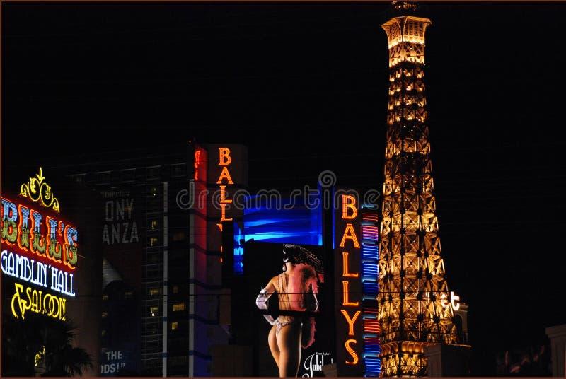 De boulevard van Lasvegas bij nacht stock foto's