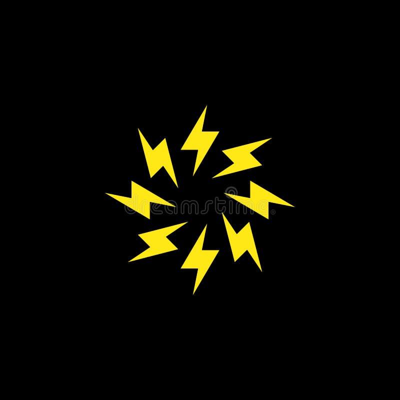 De Bout Minimaal Eenvoudig Symbool van de cirkelbliksem Creatief het ontwerp Vectormalplaatje van het Flitsteken Van de Snelheids royalty-vrije illustratie