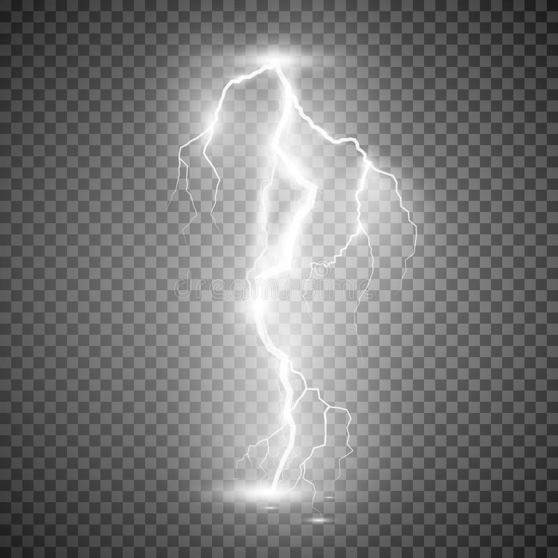 De bout van de onweersbliksem Vectorillustratie op transparante achtergrond royalty-vrije illustratie