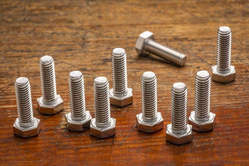 de bouten van het hexuitdraairoestvrije staal stock foto