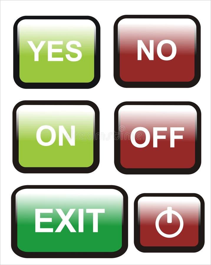 De bouton numéro oui en fonction hors fonction illustration libre de droits
