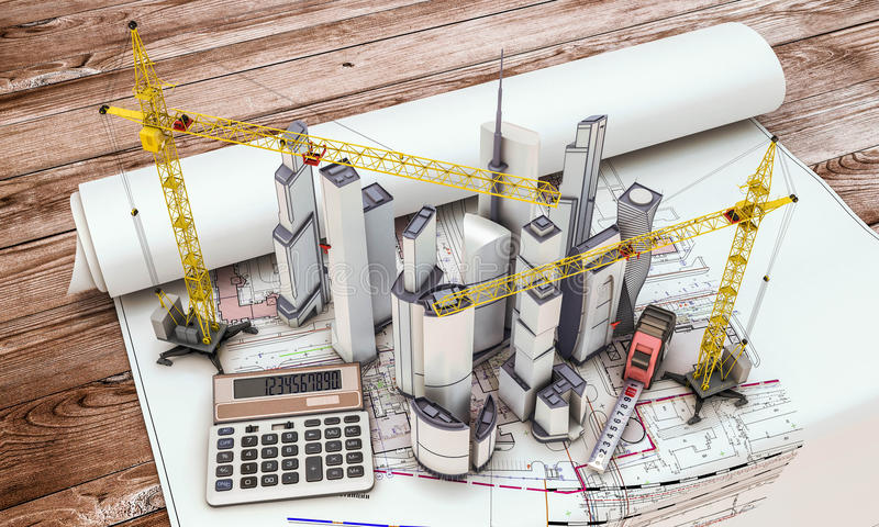 De bouw in aanbouw met kraan royalty-vrije illustratie