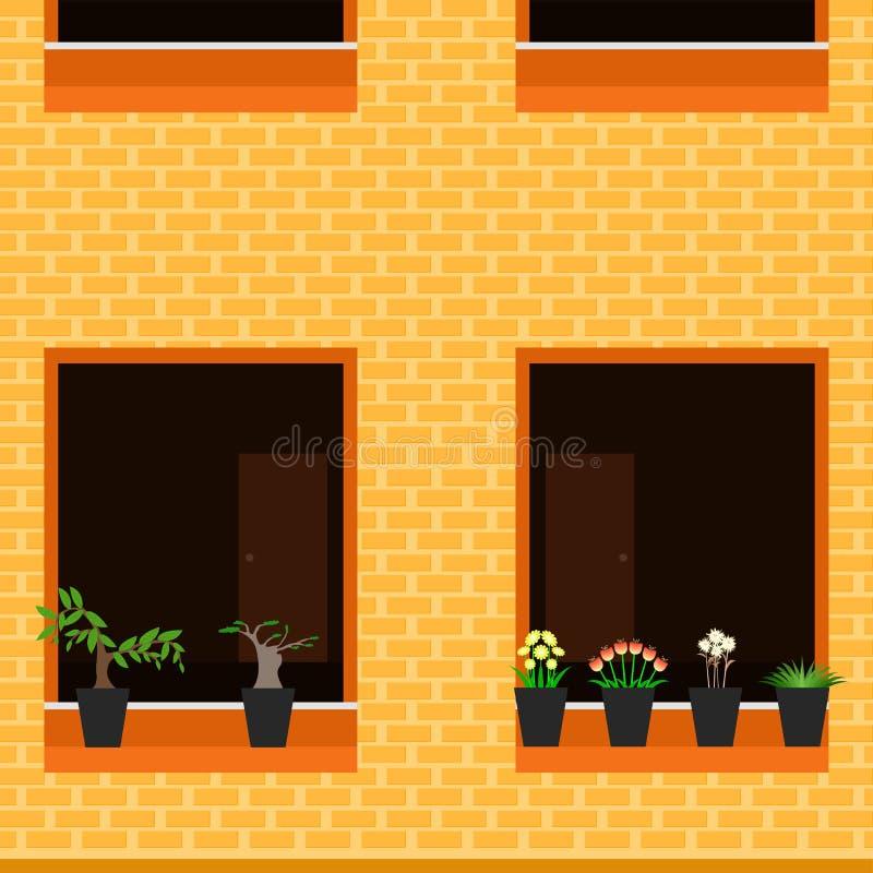 De bouw buiten de bloem vectorillustratie eps10 van het meningsvenster royalty-vrije illustratie