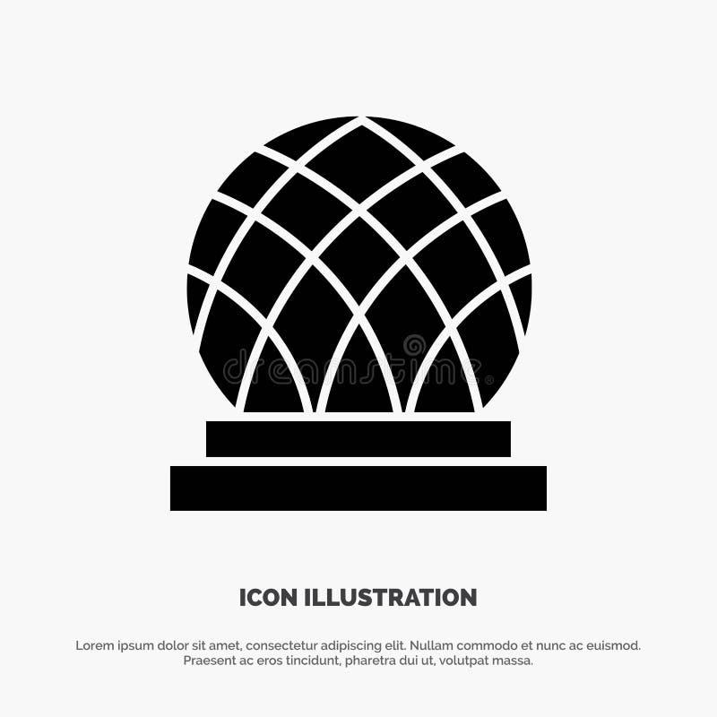 De bouw, Canada, Stad, het Pictogramvector van Koepel stevige Glyph royalty-vrije illustratie
