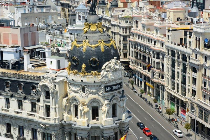 De Bouw en Gran van de metropool via, Madrid, Spanje stock afbeelding