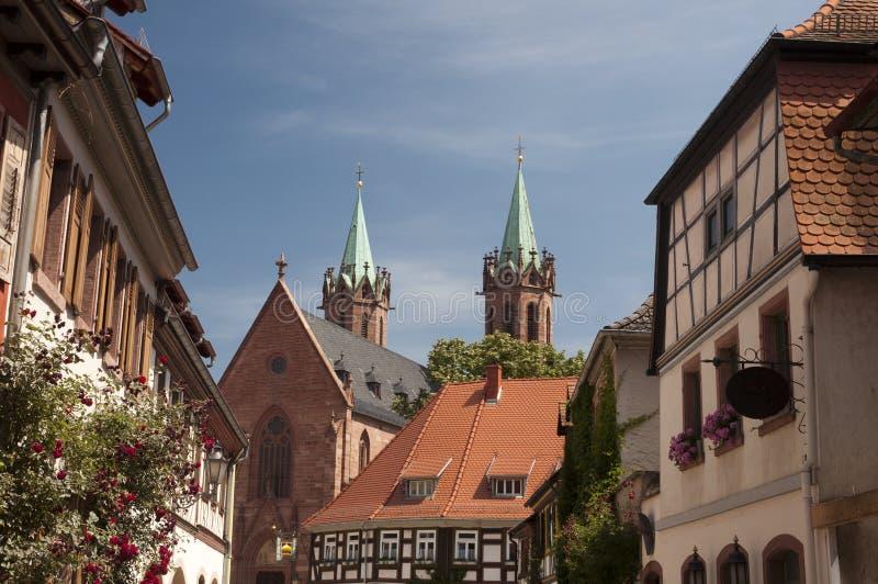 De bouw en kerk in Ladenburg duitsland stock afbeeldingen