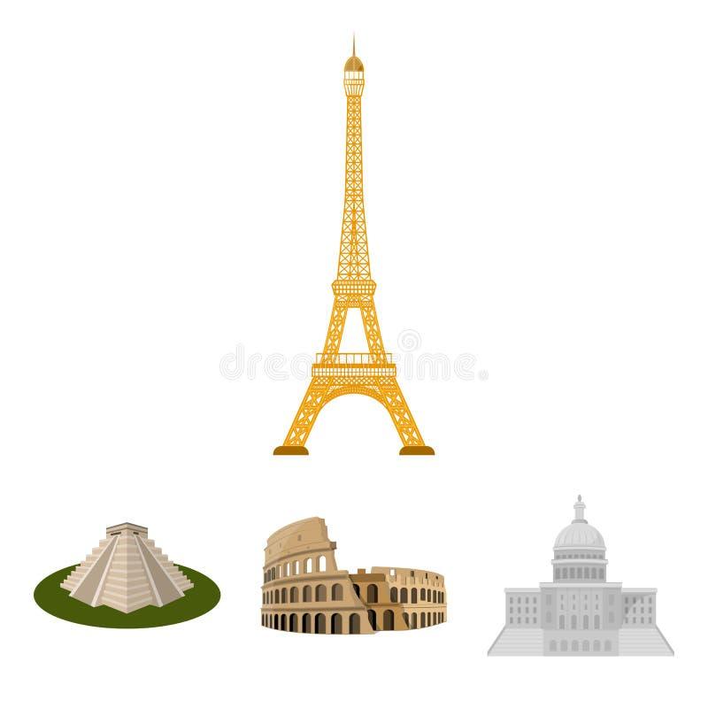 De bouw, het interesseren, plaats, coliseum Vastgestelde de inzamelingspictogrammen van het land van landen in vector het symbool royalty-vrije illustratie