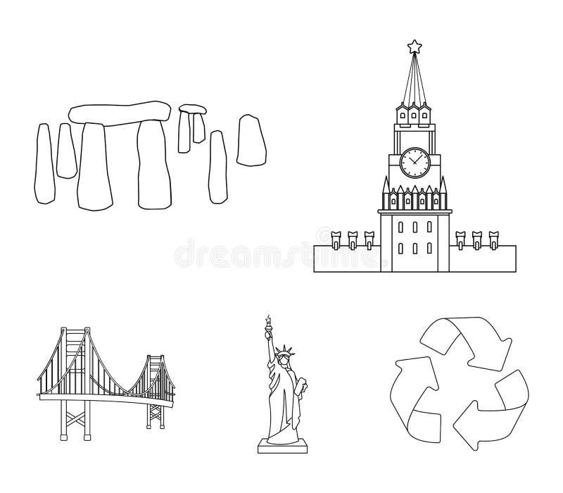 De bouw, het interesseren, plaats, coliseum Vastgestelde de inzamelingspictogrammen van het land van landen in vector het symbool vector illustratie