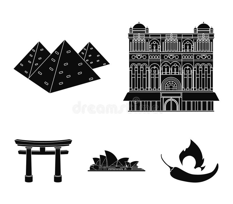 De bouw, het interesseren, plaats, paleis Vastgestelde de inzamelingspictogrammen van het land van landen in de zwarte voorraad v royalty-vrije illustratie