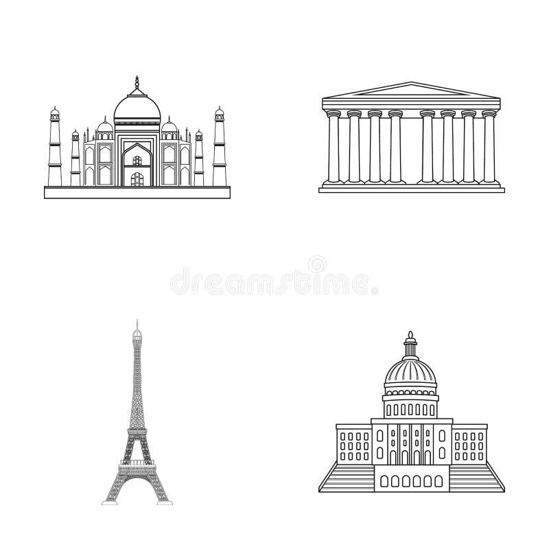 De bouw, het interesseren, plaats, toren Vastgestelde de inzamelingspictogrammen van het land van landen in vector het symboolvoo vector illustratie