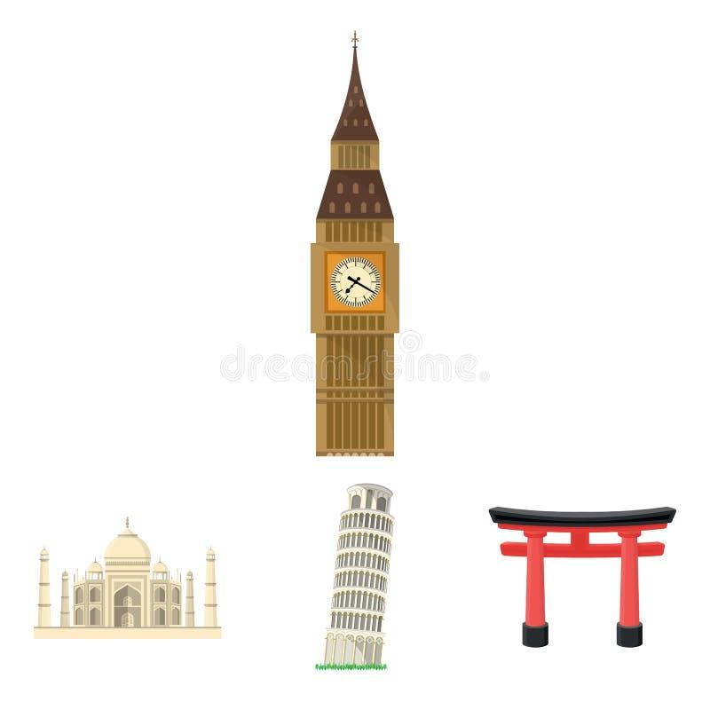 De bouw, het interesseren, plaats, toren Vastgestelde de inzamelingspictogrammen van het land van landen in vector het symboolvoo stock illustratie