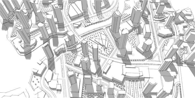 De bouw Idee Tekening Stad stock illustratie