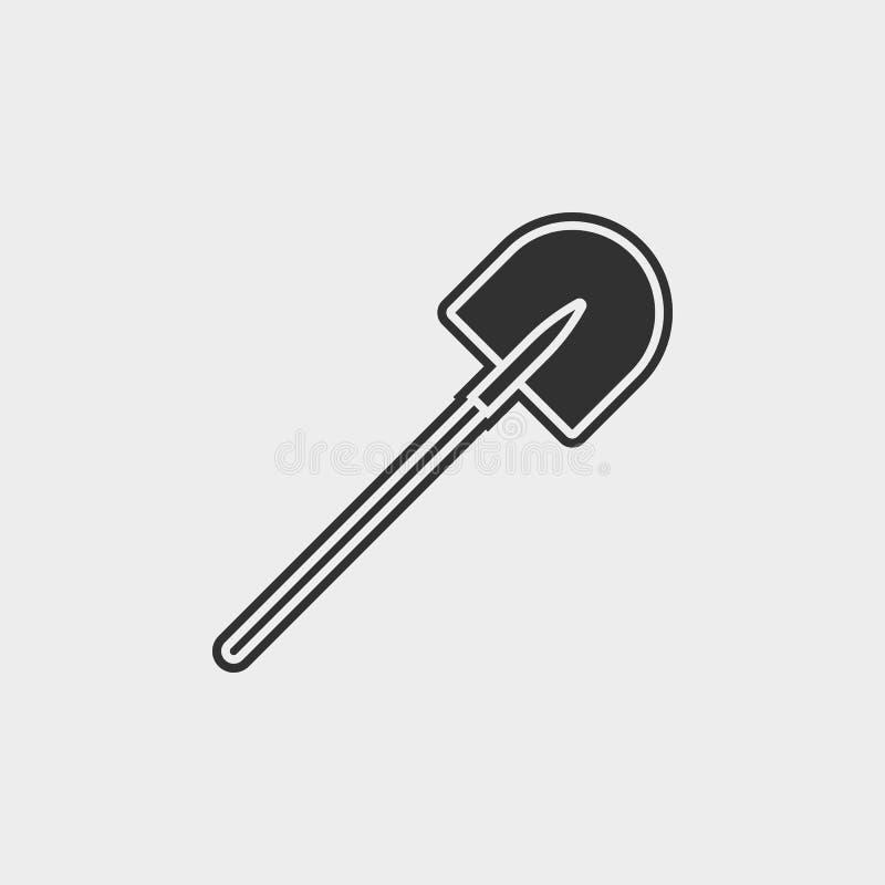 De bouw, bouw, de industrie, schop, pictogram, vlak illustratie geïsoleerd vectortekensymbool - het pictogramvector van bouwhulpm stock illustratie