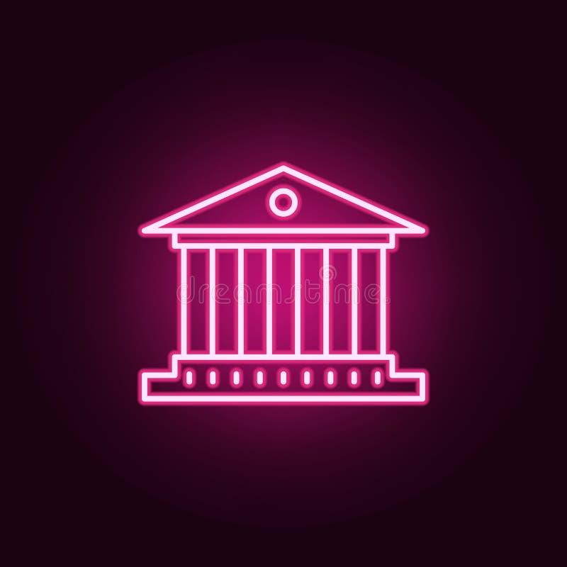 de bouw met het pictogram van het kolommenneon Elementen van Bankwezenreeks Eenvoudig pictogram voor websites, Webontwerp, mobiel royalty-vrije illustratie