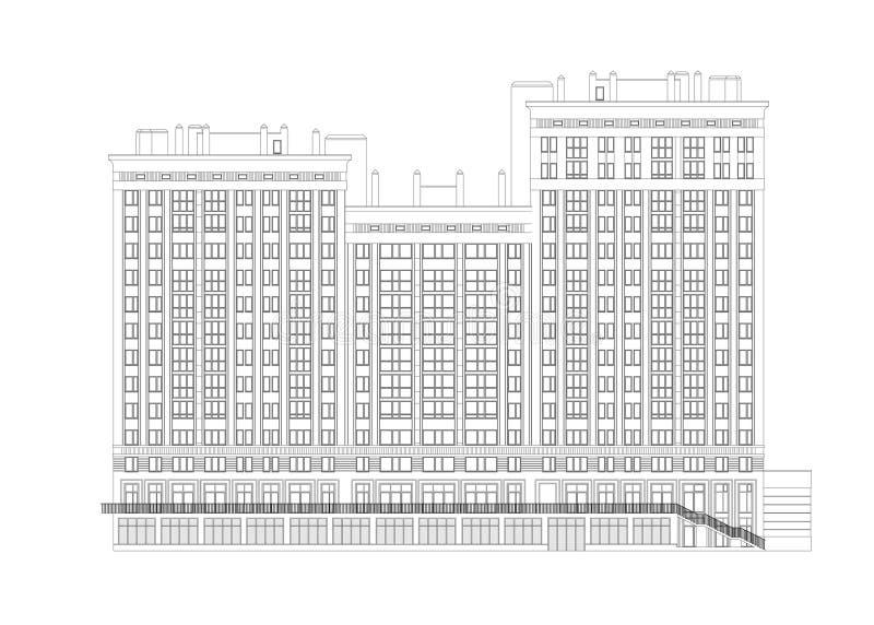 De bouw met meerdere verdiepingen detailleerde architecturale technische tekening, vectorblauwdruk vector illustratie