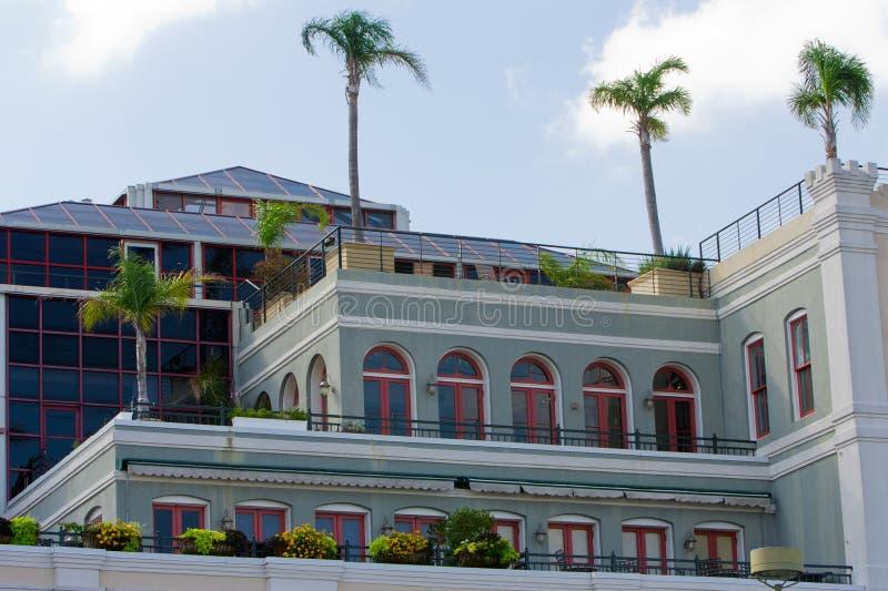 De bouw met palmen royalty-vrije stock afbeelding