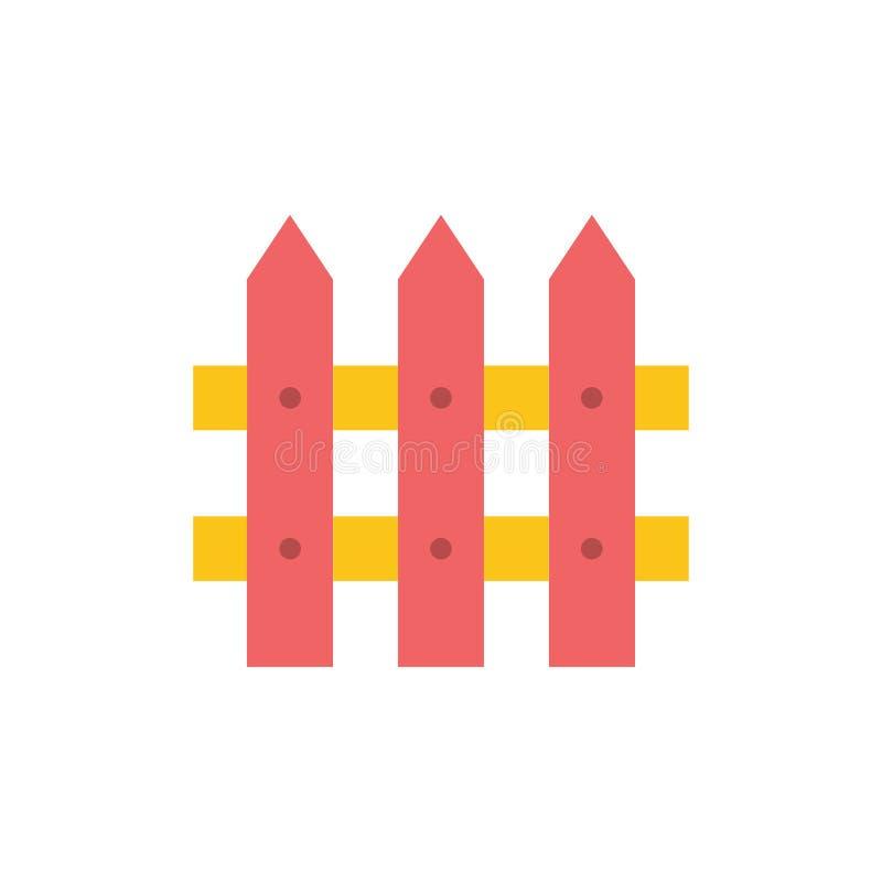 De bouw, Omheining, tuiniert Vlak Kleurenpictogram Het vectormalplaatje van de pictogrambanner royalty-vrije illustratie