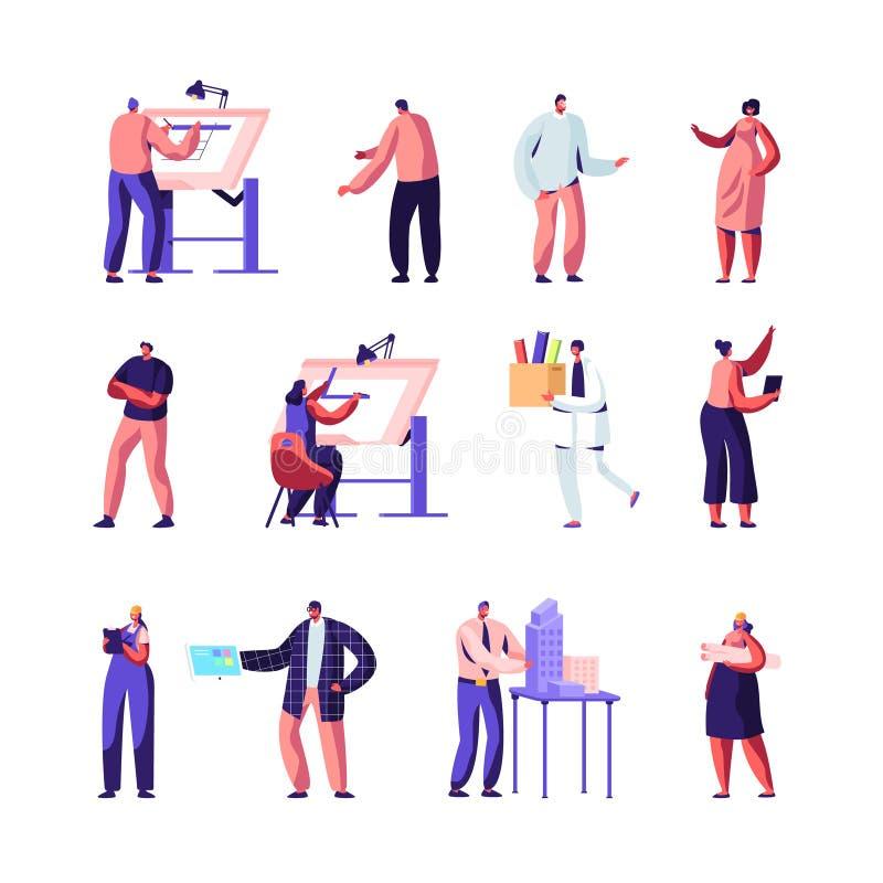 De bouw, Ontwerp en Techniek Geplaatste Arbeiders Architecten, Grafische Ontwerpers en Ingenieurs die aan Projecten, het Schilder royalty-vrije illustratie