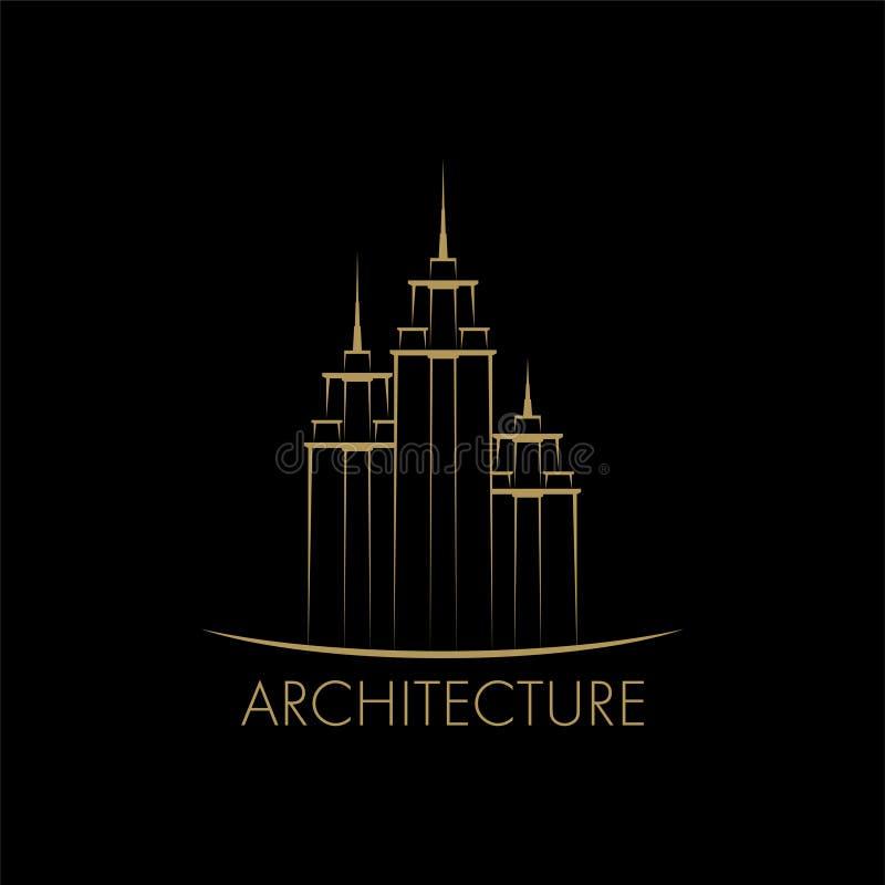 De bouw, de ontwerpsjabloon van het torenembleem vector illustratie