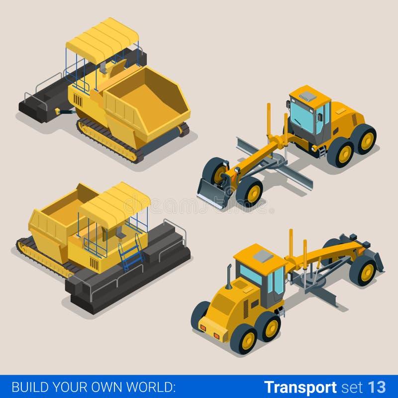 De bouw reed gevolgd: vector vlakke isometrische voertuigen stock illustratie