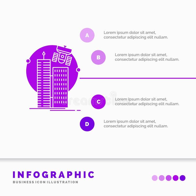 de bouw, slimme stad, technologie, satelliet, het Malplaatje van bedrijfsinfographics voor Website en Presentatie GLyph Purper pi royalty-vrije illustratie