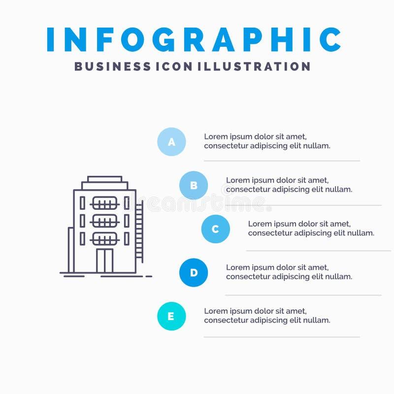De bouw, Stad, Slaapzaal, Herberg, het pictogram van de Hotellijn met infographicsachtergrond van de 5 stappenpresentatie vector illustratie
