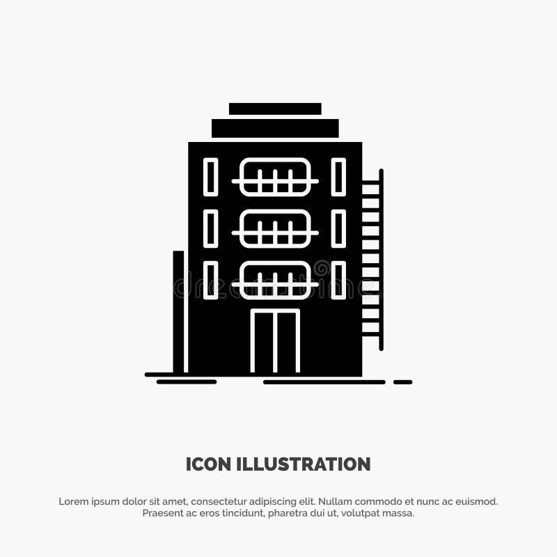 De bouw, Stad, Slaapzaal, Herberg, het Pictogramvector van Hotel stevige Glyph royalty-vrije illustratie