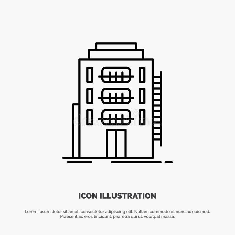 De bouw, Stad, Slaapzaal, Herberg, het Pictogramvector van de Hotellijn stock illustratie