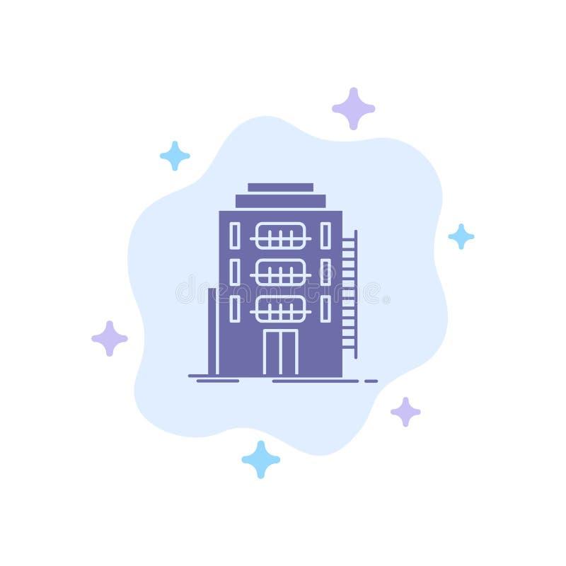 De bouw, Stad, Slaapzaal, Herberg, Hotel Blauw Pictogram op Abstracte Wolkenachtergrond stock illustratie