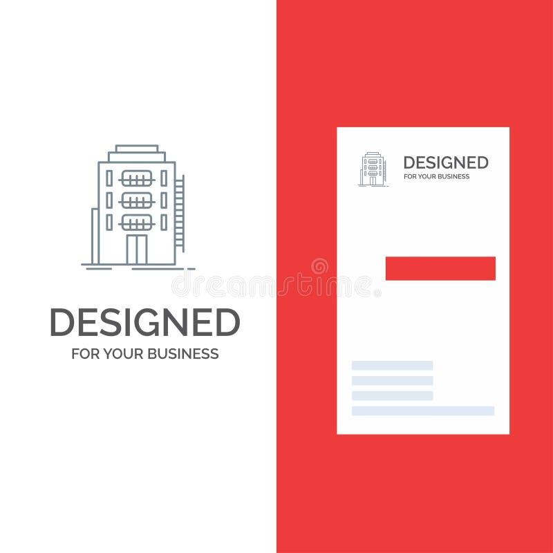 De bouw, Stad, Slaapzaal, Herberg, Hotel Grey Logo Design en Visitekaartjemalplaatje royalty-vrije illustratie