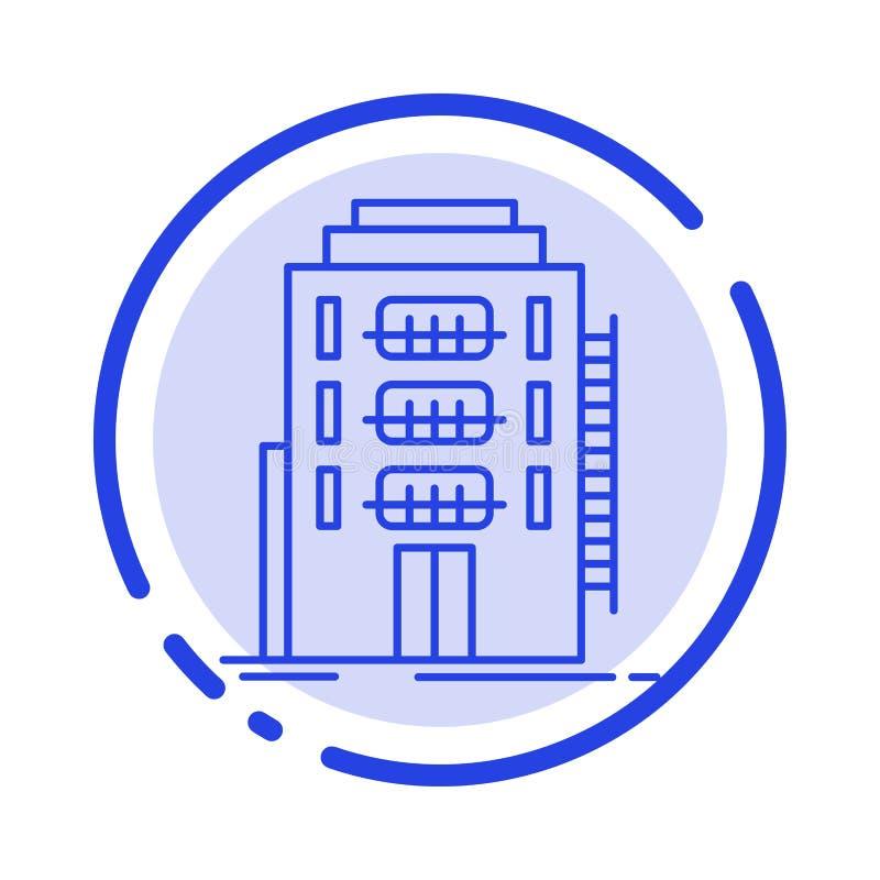 De bouw, Stad, Slaapzaal, Herberg, de Lijnpictogram van de Hotel Blauw Gestippelde Lijn royalty-vrije illustratie