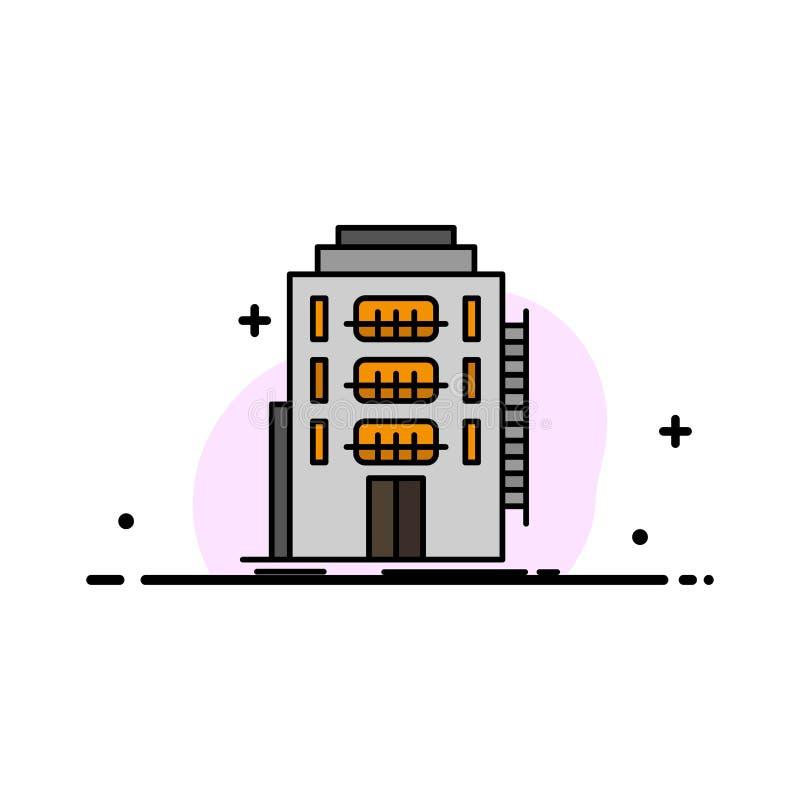 De bouw, Stad, Slaapzaal, Herberg, Malplaatje Hotel van de Bedrijfs het Vlakke Lijn Gevulde Pictogram Vectorbanner vector illustratie
