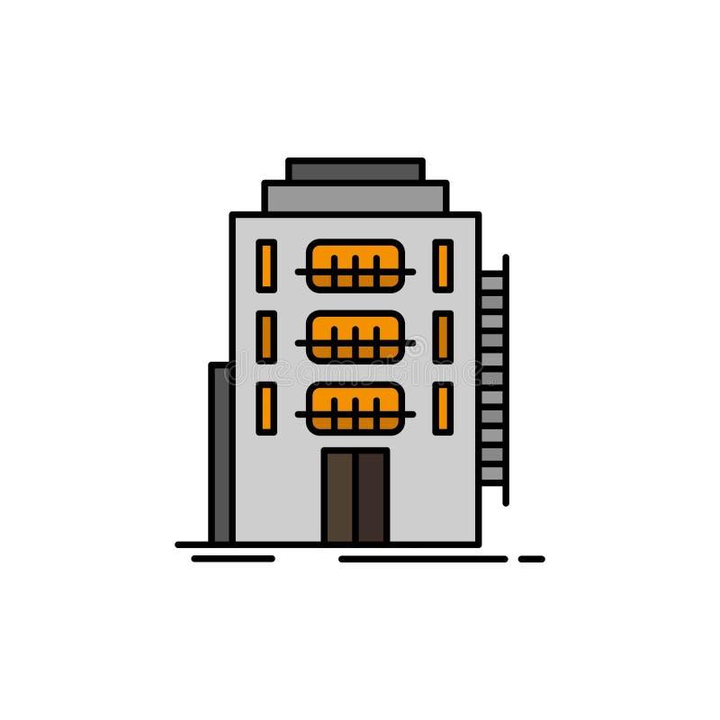 De bouw, Stad, Slaapzaal, Herberg, Pictogram van de Hotel het Vlakke Kleur Het vectormalplaatje van de pictogrambanner vector illustratie